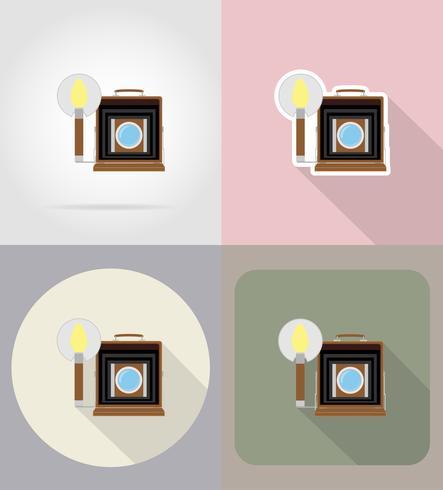 le vecchie icone piane della retro macchina fotografica d'annata della foto vector l'illustrazione