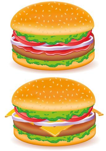 hamburger e cheeseburger vettoriale illustrazione