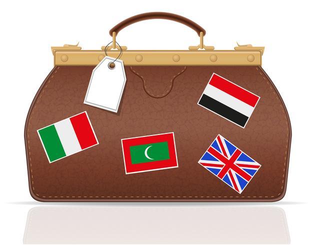 valise in pelle da viaggio con illustrazione vettoriale costipazione