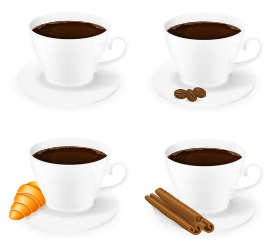tazza di caffè con l'illustrazione di vettore di vista laterale dei chicchi e del grano dei bastoni di cannella