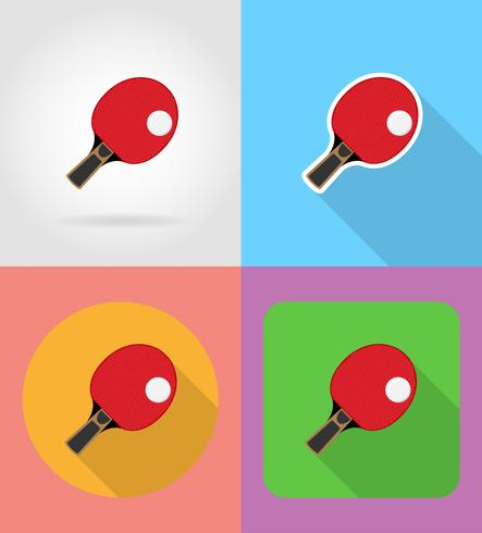 la racchetta e la palla per le icone piane di ping-pong di ping-pong vector l'illustrazione