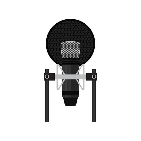 microfono isolato su sfondo bianco vettore