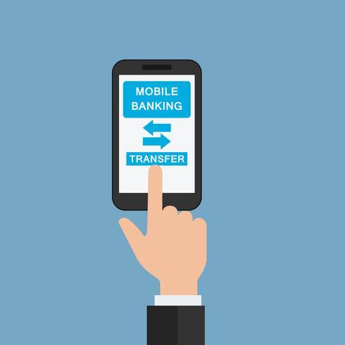 transazione di denaro su mobile banking app, mano che tiene mobile per il concetto di business online vettore