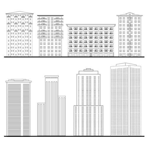Set di edifici della città. Cianografia del profilo. facciata dell'edificio grattacielo. vettore