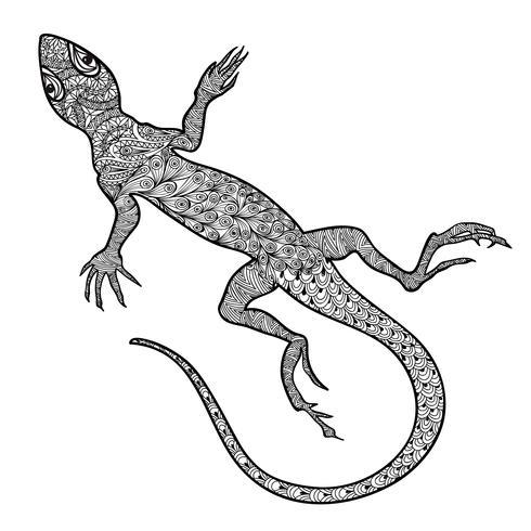 Rettile lucertola isolato. Vista frontale di salamandra ornamentale modellata vettore