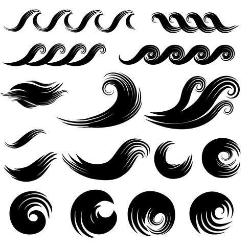 Collezione di elementi di design Wave. Swirl water splash segno silhouette vettore