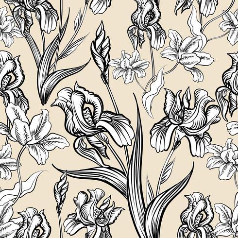 Motivo floreale inciso senza soluzione di continuità. Sfondo giardino fiorito vettore