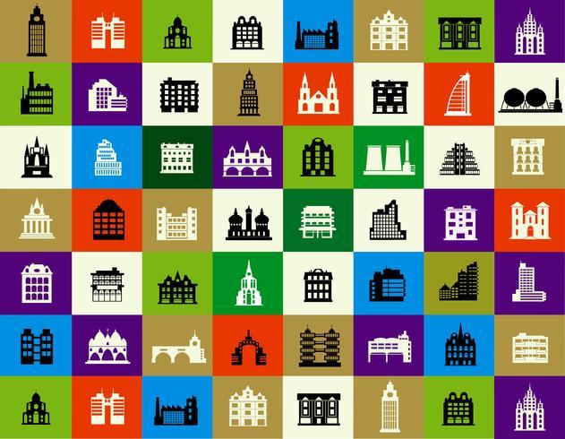 Sagome di edifici della città vettore
