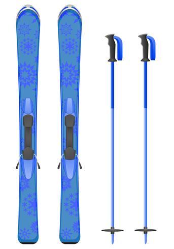 montagna di sci blu con illustrazione vettoriale di fiocchi di neve
