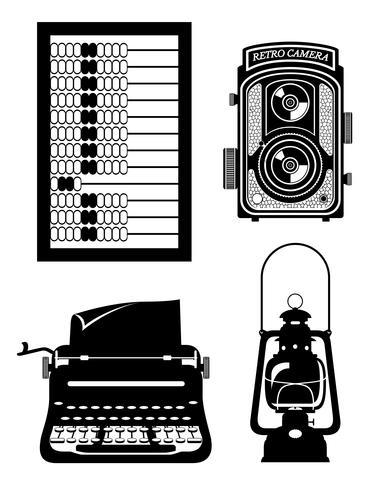oggetti vecchio retrò vintage icona illustrazione vettoriali stock
