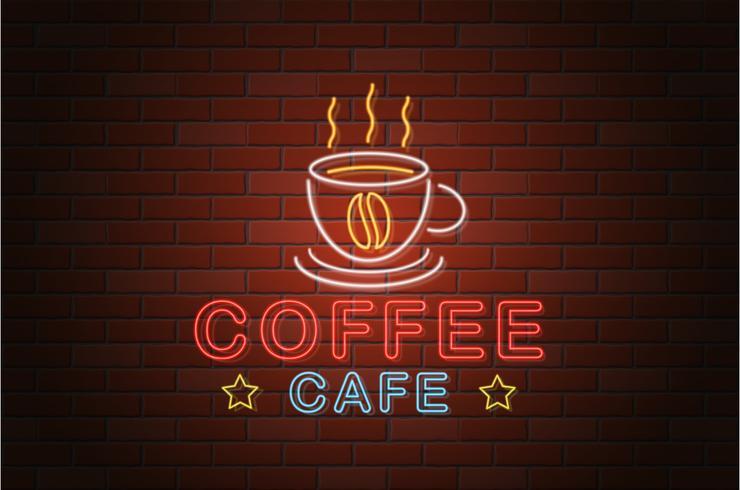 illustrazione d'ardore di vettore del caffè del caffè dell'insegna al neon