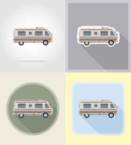 illustrazione piana di vettore delle icone della casa mobile del campeggiatore del caravan del furgone dell'automobile
