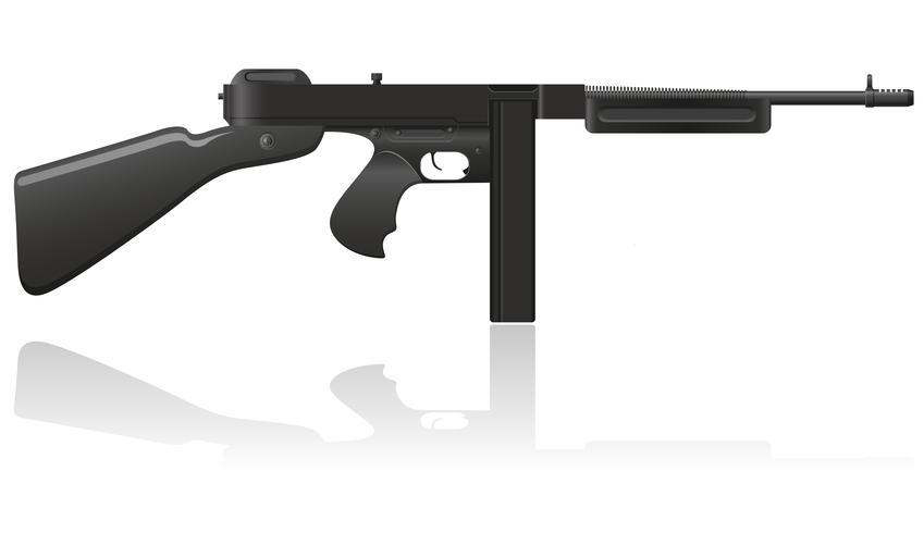 illustrazione vettoriale di Thompson gun gangster gun