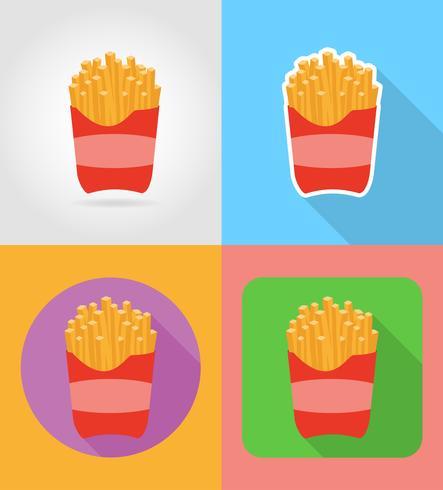 icone piane di fast food di patate fritte con l'illustrazione di vettore di ombra
