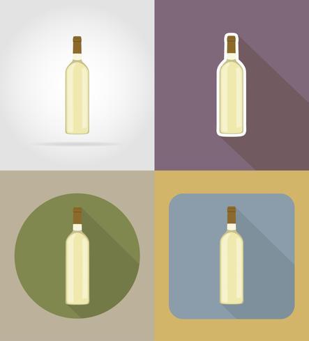 oggetti e attrezzature della bottiglia di vino per l'illustrazione di vettore dell'alimento
