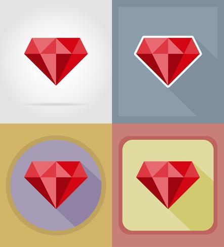 Le icone piane del rubino e delle icone piane dell'attrezzatura vector l'illustrazione