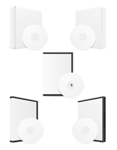 cassa d'imballaggio del bisk del cd e del dvd che imballa l'illustrazione di vettore