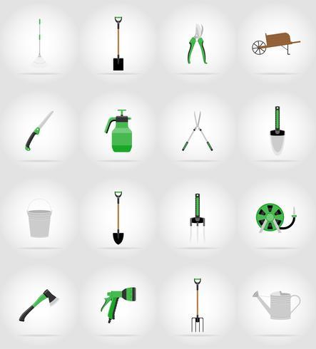 illustrazione piana di vettore delle icone degli strumenti di giardinaggio