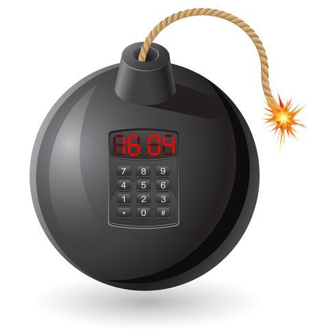 bomba nera con una miccia accesa e un orologio illustrazione vettoriale
