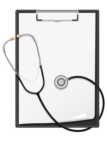 foglio di carta in bianco della lavagna per appunti e illustrazione di vettore dello stetoscopio