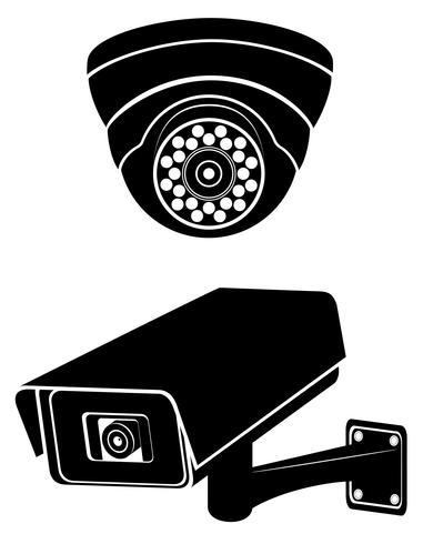 illustrazione di vettore di sagoma nera di telecamere di sorveglianza