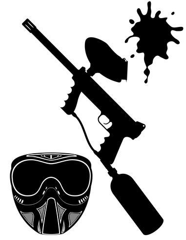 paintball set illustrazione vettoriale silhouette nera