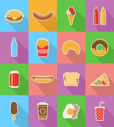 icone piane degli alimenti a rapida preparazione con l'illustrazione di vettore dell'ombra