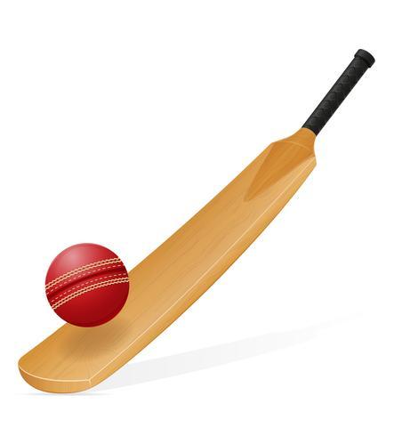 illustrazione vettoriale di pipistrello e palla di cricket