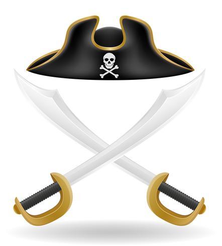 illustrazione di vettore di tricorno e spada cappello del pirata