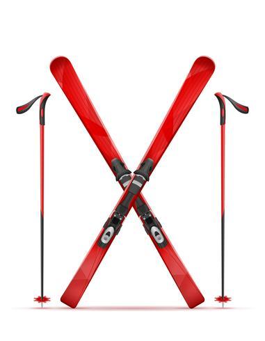 illustrazione vettoriale di sci e bastone di montagna