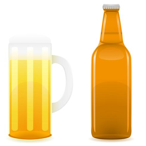 illustrazione vettoriale bottiglia di birra e vetro