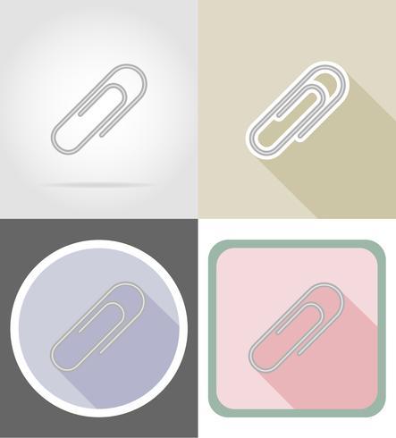 illustrazione piana di vettore delle icone piane dell'attrezzatura della cancelleria della clip