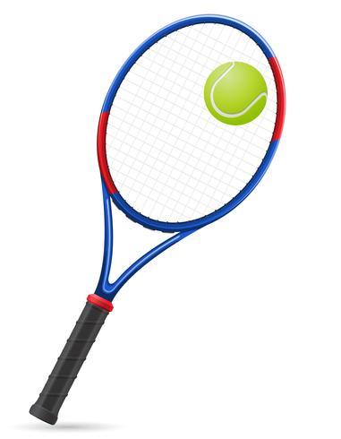 racchetta da tennis e illustrazione vettoriale palla