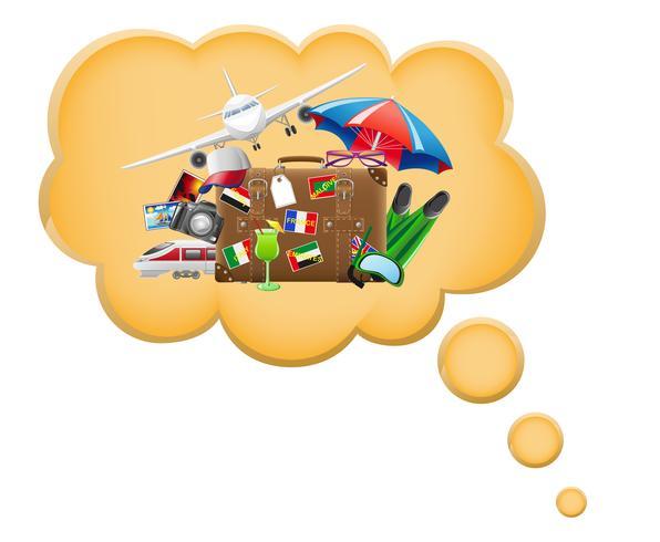 il concetto di sogno una vacanza e riposa nell'illustrazione di vettore della nuvola