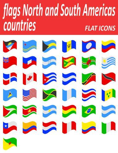 illustrazione di vettore di icone piane di paesi nord e sud americane di bandiere