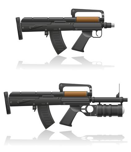 mitragliatrice con un breve barilotto e illustrazione vettoriale lanciagranate