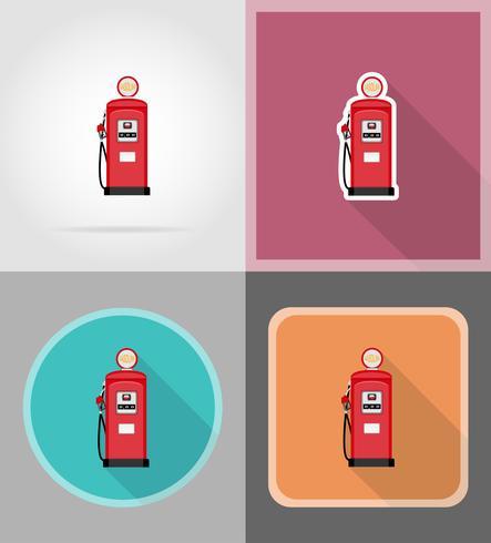 benzina rossa riempimento icone piane illustrazione vettoriale