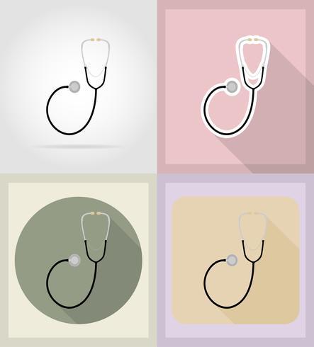 illustrazione piana delle icone degli oggetti medici e delle attrezzature vettore