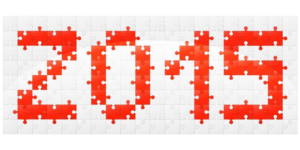 illustrazione vettoriale di nuovo anno puzzle