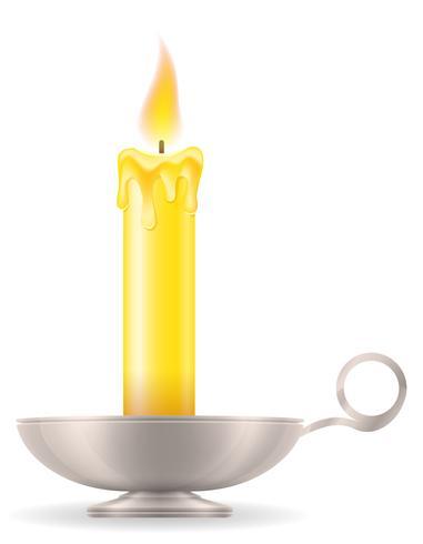 candela con la vecchia retro illustrazione d'annata delle azione dell'icona del candeliere vettore