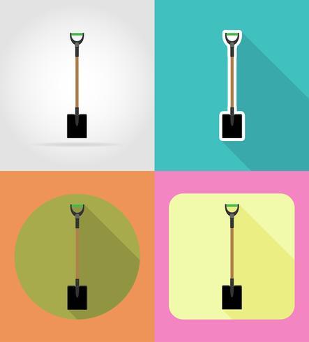 illustrazione piana di vettore delle icone dello strumento di giardinaggio della pala
