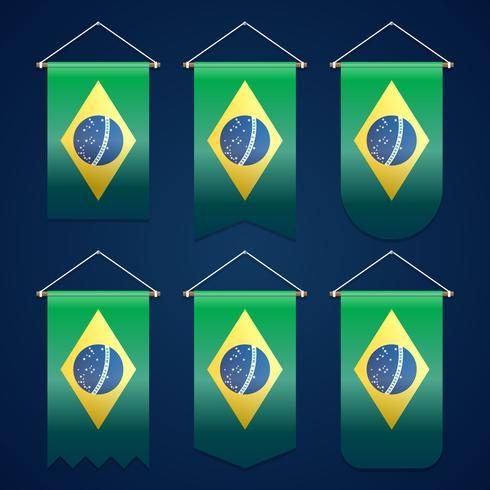 Progettazione del modello di vettore della bandiera del nastro del Brasile