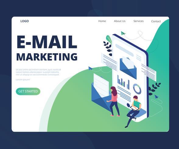 Concetto di opera d'arte isometrica di marketing e-mail vettore