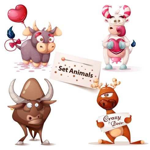 Mucca, toro, cervo - simpatici personaggi. vettore