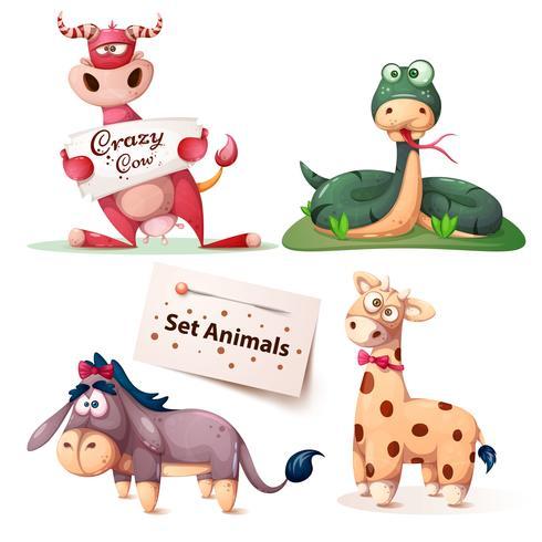 Mucca, serpente, asino, giraffa - set di animali. vettore