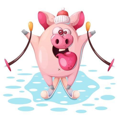 Carino maiale rosa con sci. vettore