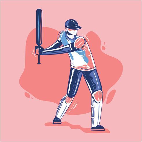 Batsman Playing Cricket vettore