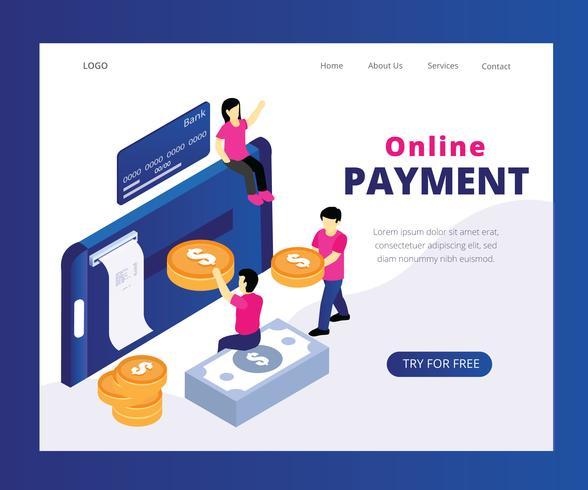 Concetto isometrico del materiale illustrativo di pagamento online vettore