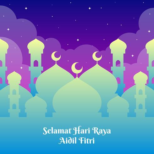 Modello di saluti Hari Raya con Mosque Background vettore