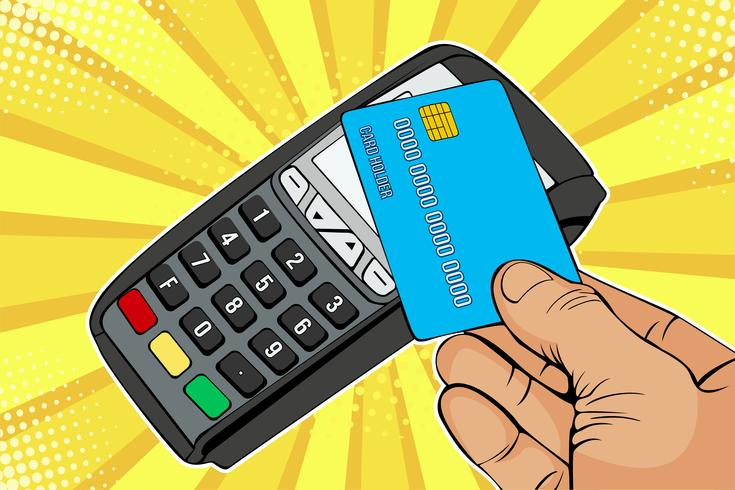 Terminale POS, macchina di pagamento con carta di credito. Pagamento senza contatto con tecnologia NFC. Illustrazione vettoriale colorato in stile fumetto retrò di pop art